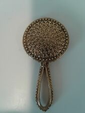 Vintage Gold Tone Purse Size Mini Hand Mirror