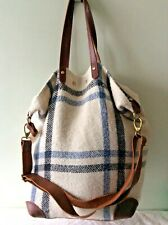BODEN real leather trim ladies cream and blue wool tartan check shopper handbag