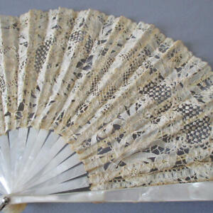 Antique Handmade BRUSSELS Princess LACE Fan Mother of Pearl MOP Sticks Orig Box