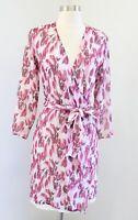 Jill Stuart Pink Ivory Tulip Floral Print Silk Wrap Tie Dress Size S *read