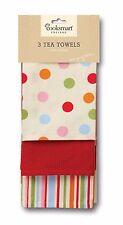 """""""3PC TEA TOWELS"""" Cooksmart Dot Spot Clean Kitchen Wear Apron Napkin 100% Cotton"""