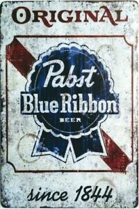 """Vintage Style Metal Signs, Pabst Blue Ribbon and Other Booze Signs 12"""" x 8"""""""