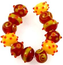 Lampwork Handmade Glass  Rondelle Beads - Autumnal Scenery