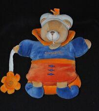 Peluche marionnette ours Indidous bleu orange DOUDOU ET COMPAGNIE + fleur NEUF