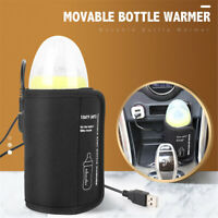 USB Baby Portable Bottle Warmer Heater Insulated Bag Travel Cup Milk Thermostat