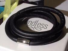 Endless Jewelry 54cm Black Bracelet Triple Strand Silver Clasp rrp £55