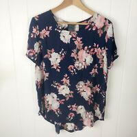 Chelsea & Theodore Womens L Large Blouse Navy Pink Floral Short Sleeve Top NWT