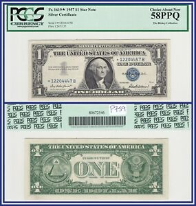 Star Note 1957 $1 Silver Certificate Dollar PCGS 58 PPQ AU About Unc New