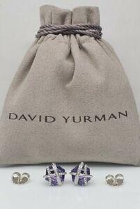 David Yurman Sterling Silver Wrap with Amethyst & Diamonds stud Earrings