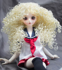 """Doll Wig Wild Ringlets Style Mayumi - Flaxen Blonde BJD 6-7"""" and 8-9"""" Size"""
