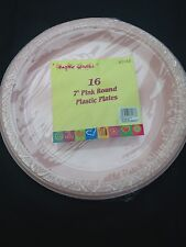 32x  pink disposible plastic plate  18 cm  for all occasion