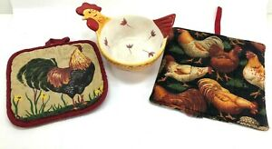 ROOSTER Lot 3 pc Ceramic Bowl & 2 Pot Holders Fun Decor Kitchen Collection