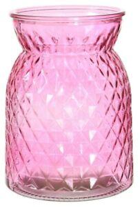 Pink Glass Flower Vase Wide Mouth Flower Vase Waisted Design Etched Design