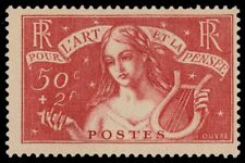 """FRANCE B43 (Mi304) - Intellectual Relief Fund """"Allegory of Music"""" (pf68946) $125"""