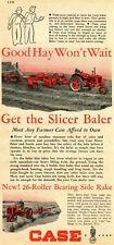 1948 Print Ad of Case Slicer Hay Baler & 26 Roller Bearing Side Rake & Tractor