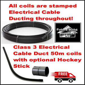 Electric Cable Duct Ducting 32mm or 38mm ID x50m Smooth Bore Coil Black / Hockey