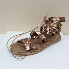 Alpe rose gold leather snake print gladiator sandals, UK 4/EU 37, RRP £79, BNWB