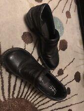 BOC BORN Concept Womens  Black Pebble Leather Clogs Peggy Closed Back Sz 9.5