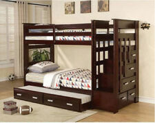 Twin Over Twin Bunk Beds Kids Children Modern Bedroom Furniture Espresso Wood