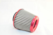 """REZTON Stainless Steel High Performance Cone Air Filter CHROME RED 3"""""""