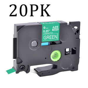 """20PK Compatible Brother TZ-725 TZe-725 White on Green Label Tape Cassette 0.35"""""""