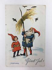 c. 1912 Glad Jul! Christmas Postcard Gnomes Santa Hildur Soderberg Signed
