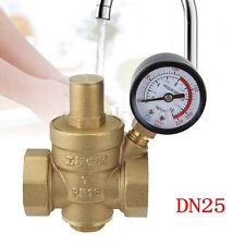 "AU DN25 1"" Brass Water Pressure Reducing Regulator Valve Reducer w/Gauge Meter"
