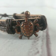 NEW Unisex Leather Adjustable Cuff Bracelet With Copper Turtle Charm
