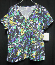 New Delta XL Scrub Top Black with Splashes of Color style 46P