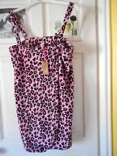 PINK leopard animal print beach towelling fibre DRESS 14- 16 new with tags