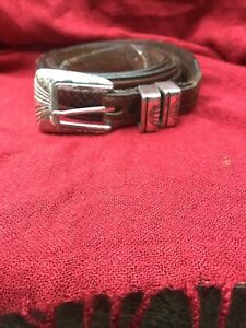 Vintage Brown Leather Belt With Braid Silver Tip And Keeper Size 36