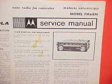 1968 MOTOROLA AUTO RADIO FM CONVERTER SERVICE SHOP REPAIR MANUAL BROCHURE FM68M