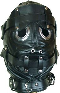 Bondage Hood Mask with Mouth Gag And Blindfold Real Black Sexy Leather