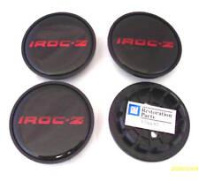 1985 - 1987 CAMARO IROC Z CENTER CAP SET - BLACK W/ RED LETTERING - IROC-Z