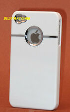 FOR IPHONE 4 4S  HARD BACK CASE COVER WHITE W/ CHROME BELT /+ cool
