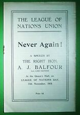 1919 BALFOUR, A.J. Never Again! A Speech by The Right Hon. A.J. Balfour