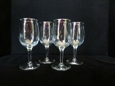 LOT OF 4 CLEAR ETCHED GLASS STEM WINE GLASSES