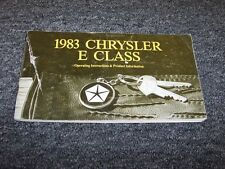 1983 Chrysler E Class Original Owner Owner's Operator User Guide Manual Book