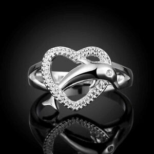 Beautiful 925 Sterling Silver Dolphin Heart Ring Sizes 7 and 8 Free Shipping