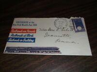 AUGUST 1939 NEW YORK WORLD'S FAIR SOUVENIR ENVELOPE RPO CACHET #13