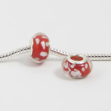 3 Beads - Red w White Dots Snowflakes Glass Silver European Charm Bead E0066