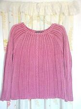 Red Chunky Cable Knit Pullover Camping Sweater Vintage Wash Cotton Raglan L XL