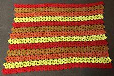 vintage red yellow orange brown AFGHAN BLANKET throw crochet handmade 74 x 60
