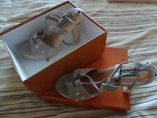 Ladies Beige/Grey Heeled Sandals - BNIB - Size 39 (UK 6)