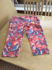George Size 20 Red & Blue Floral Print Cropped Jeans.                       f