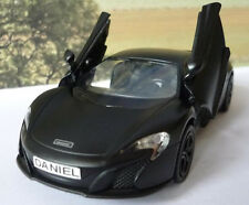 PERSONALISED PLATE Gift Matt Black McLAREN Boys Dad Diecast Toy Car Model Boxed