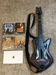 Guitar Hero: Warriors Of Rock PS3 Wireless Guitar w/ Dongle + 4 Games -Tested