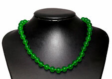 Green Agate Stone Necklace Choker Length-45cm Rhodium Plated Hook Extender