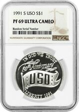 1991 S $1 USO Commemorative Silver Dollar NGC PF69 UC