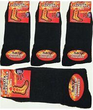 12 Pairs Mens Black Winter Thermal Socks, Thick Warm Work Boot Socks Size 6-11